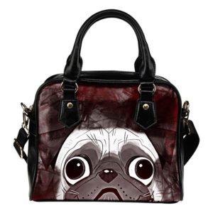 black Pug face abstract purse