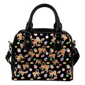 black cupcake pug purse