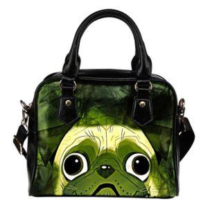 green Pug face abstract purse