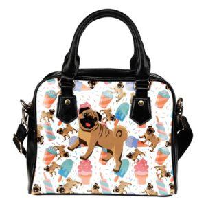 ice cream pug shoulder bag