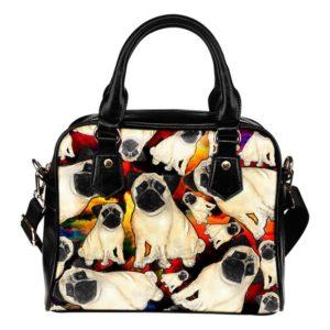 rainbow pug shoulder bag