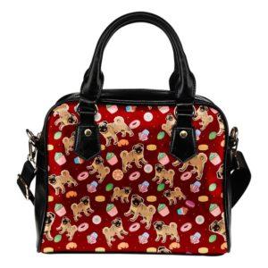 red cupcake pug purse
